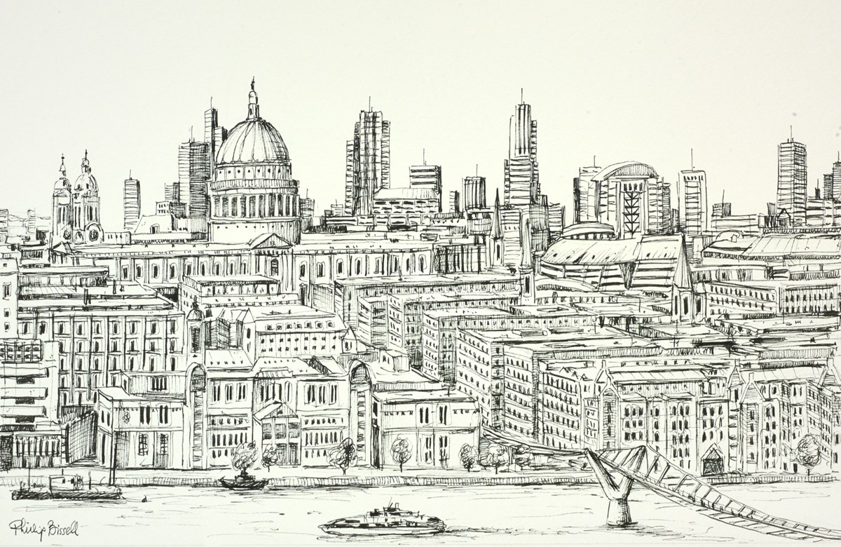 St Pauls from Tate Modern (sketch)