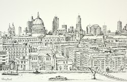 St Pauls from Tate Modern (sketch) by Phillip Bissell - Original Drawing on Mounted Paper sized 17x11 inches. Available from Whitewall Galleries