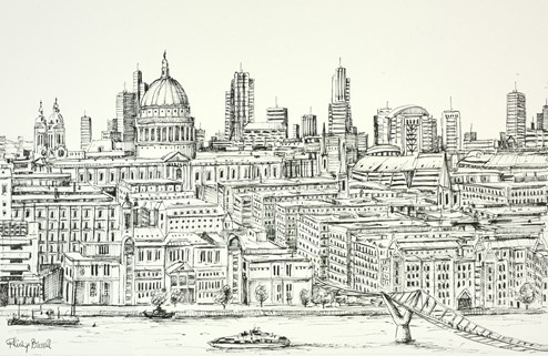 St Pauls from Tate Modern (sketch) by Phillip Bissell - Original Drawing on Mounted Paper